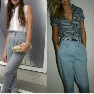 American Apparel Chambray High Waist Pleated Pants